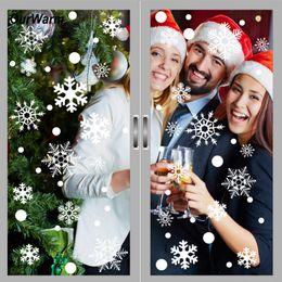 Christmas Windows Stickers Canada - Ourwarm 144pcs Christmas Window Stickers Office Christmas Party Supplies Winter Wall Stickers 2018 New Year Xmas Decorations