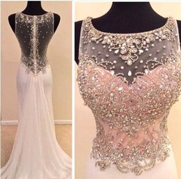 Barato Fotos Vestidos De Chiffon-2015 Sexy Sheer Mermaid Evening Dresses Real Pictures Jewel Neck Beading Crystal Top Chiffon Sweep Train Backless Prom Party Vestidos BO8011