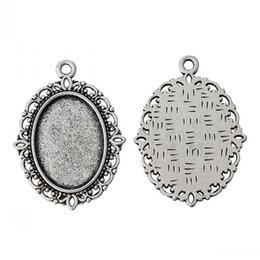 "China Jewelry Findings Charm Pendants Oval Antique Silver Cabochon Setting(Fit 18mm x 13mm)Nickel Free 29mm x 22mm(1 1 8"" x 7 8""),50PCs cheap charm wholesalers suppliers"