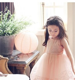 Jupe Slim Pas Cher-Robe enfants Summer Robe enfants Summer Girls Lace et Halter Vest Dress enfants vintage douce impression et Slim Bubble Skirt