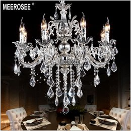 classic gold chandelier lights Canada - Classic Crystal Chandelier Candle Lighting Fixture Golden or Silver Lustre Crystal Hanging Lamp MD8861