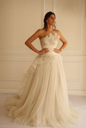 maison yeya lace wedding gowns UK - Vintage Lace Beach Wedding Dresses 2016 Maison Yeya gown Cheap A-line Sleeveless SheerTulle Skirt Elegant Bridal Gown