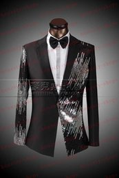 Discount red tuxedo dresses Brand New Sequined dresses 2015 Men Suits Slim Blazers Tuxedo Groom Sequin Prom Gold Wine Red Black Sequined Wedding Dress