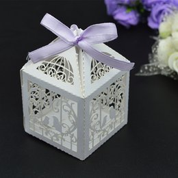 Emballage De Boîtes À Gâteaux De Mariage Pas Cher-100pcs / lot Wedding Banquet Mini Candy Box Birds Heart Design Sweet Gift Emballage Chocolat Sweetmeat Holder Paper Case wc148