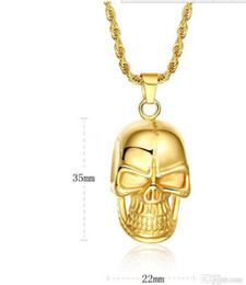 Fast Free Shipping Pendants NZ - Fast Free Shipping Fine Wholesale - New Swiss precision steel Skull pendant 18K gold filled necklace Seiko quality Never change color