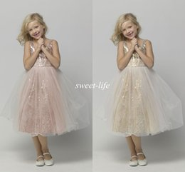 $enCountryForm.capitalKeyWord Canada - Hot Sale Tea Length Flower Girl Dresses for Wedding Rose Gold Sequins 2019 Cheap A-Line Tulle Children Birthday Girls Pageant Dresses