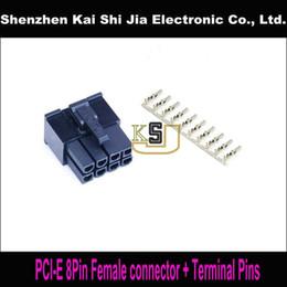 Al por mayor-envío gratuito 50 unids / lote 8 pin hembra PCI-E GPU Conector de alimentación zócalo negro + 400PCS Terminal Pins Plug en venta