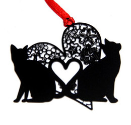 Souvenirs Shower Wedding UK - 25pcs Stainless Steel Black Heart Love Cat Bookmark Book card For Wedding Baby Shower Party Birthday Favor Gift Souvenirs