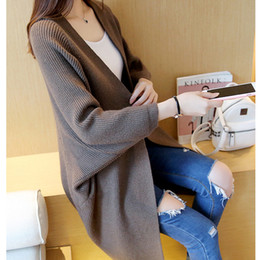 Outfit Cardigans Canada - Wholesale- 2017 Korea outfit loose over size long knitting cardigan coat pocket sweater women poncho pull femme sobretudo feminino hlrka