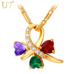 faded gold chain 2019 - U7 Women 2015 New Multicolor luxury Fashion non-fading Cubic Zirconia 18K Real Gold  Platinum Plated Charm Pendant Neckl