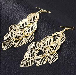 $enCountryForm.capitalKeyWord Canada - Free shipping 18K gold jewelry earring fine polish gloss leaf drop jewelry earring for women gifts HZ