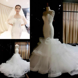 Corset Laced Mermaid Wedding Dress Canada - 2015 Arabic actual image Pictures luxury crystal Lace Mermaid Wedding Dresses Sheer Corset Backless Vestidos Ruffles Cathedral Train Gowns