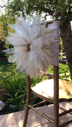 Wholesale 2015 Big Flowers Crystal Beads Romantic Hand Made Tulle Ruffles Chair Sash Chair Covers Wedding Decorations Wedding Accessories