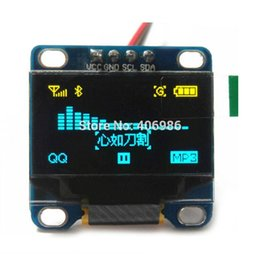 """Inch Tft Lcd Module UK - 0.96"""" Inch Yellow and Blue I2C IIC OLED LCD Module Serial 128X64 LED Display for Arduino 51 MSP420 STIM32 SCR"""