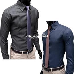 nuevos Azul moda libre Negro vestido con 2014 hombres ocasionales la 2Color envío la raya adelgazan el estilo de L largas XXL camisas de XL M A6qST0