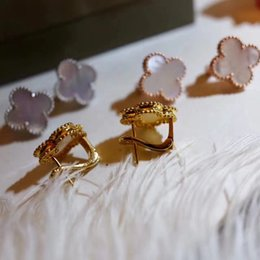 Gold plated ear cuffs online shopping - Top brass material paris design earring clip with nature shell and agate ston in cm flower shape for women earring jewelry gift brand nam
