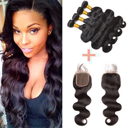 "natural way hair extensions NZ - Brazilian Malaysian Peruvian Hair Extensions Natural Color Body Wave 3 Way Part Top Lace Closure 4""x4"" With Body Wave Hair 4 Bundles"
