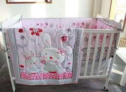 baby quilt embroidery Australia - Embroidery 3D rabbit Wild flowers insects Baby bedding set 7Pcs Crib bedding set Quilt Bumper bed Skirt Mattress Cover Cot bedding set