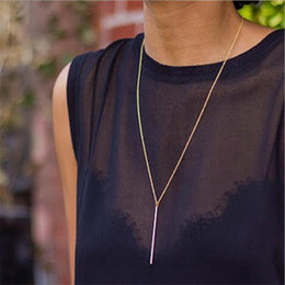 Discount designs pendants gold for girls - New Fashion Simple Design Silver Gold Color Long Link Chain Bar Pendant Necklaces & Pendants For Women Girls