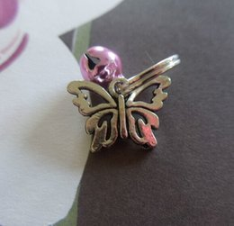 $enCountryForm.capitalKeyWord Australia - Fashion Jewelry 50pcs Vintage Silver Butterfly&Bell Charms Key Chain Ring For Keys Car Bag Key Ring Handbag Couple Key Chains Jewelry Gifts