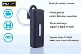 Fone de ouvido Bluetooth Câmera HD 720 P fone de ouvido Bluetooth câmera de Detecção De Movimento gravador de vídeo portátil mini câmera DVR DV em Promoção