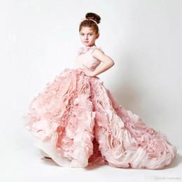 2019 New Cute Hallo-lo Erröten Rosa Mädchen Pageant Kleider Spitze Blumen Puffy Rüschen Organza Rock Hochzeit Blumenmädchen Ballkleider BO3897