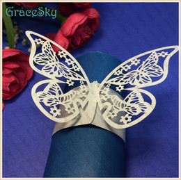 $enCountryForm.capitalKeyWord Canada - 50Pcs lot Free ShippingTowel Buckle Laser Cutting Butterfly Paper Wedding Decorations Napkin Ring for Birthday Party Table Decoration