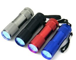 Алюминий 9led фонарик УФ ультрафиолетовый мини Портативный фонарик Факел света лампы серебро бесплатная доставка