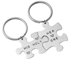 Cartoon Stamping Australia - Personalized Couple Keychain Puzzle Keychain Customized Name Key Ring Valentine's Day Gifts Hand Stamp Ring For Car Zinc Alloy Keychain