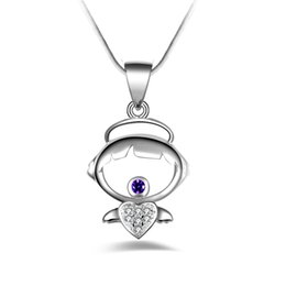 3eff4de56 Free shipping fashion high quality 925 silver Angel wings purple diamond  jewelry 925 silver necklace Valentine's Day holiday gifts hot 1662