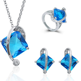 Blue Crystal Square Necklace Canada - Classic Blue Necklace Earrings Rings Sets Luxurious Square Crystal Jewelry For Wedding Jewelry Sets Women Best Gift 1406