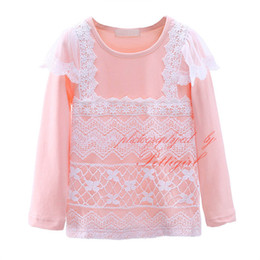Discount kids stylish clothing - Cheap Pink Girls Lace T-shirt With Flowers Stylish Kids Patchwork Long Sleeve Top Fall Kids Clothes GT41015-12