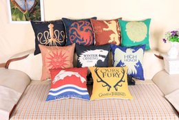 Discount wholesale game thrones gifts - Game of Thrones linen cushion cover vintage Decorative wedding hotels office sofa Throw Pillow Cushion case Home Textile