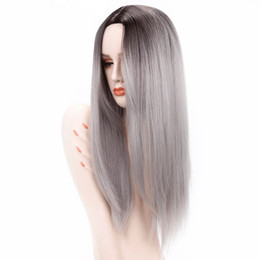 China Luxury For Braiding 26 inch Ombre Grey Blonde Brown Straight Hair Ombre Synthetic Wigs For Women Heat Resistant Fiber Cosplay Wig supplier ombre braiding hair brown blonde suppliers