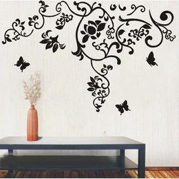 $enCountryForm.capitalKeyWord Canada - Large Size Black Flowers Rattan Butterfly Wall Art Mural Decor Living Room Fashion Creative Wallpaper Decal Poster 100 x 160CM