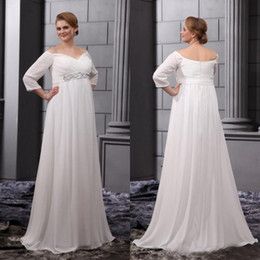 Robe De Fête En Mousseline D'ivoire Pas Cher-Robes de mariée taille grande 2015 Empire Waist Off Shoulder Robes de mariée Beach Pregnant Wedding Party Dress Maternité de demoiselles d'honneur Mousseline d'ivoire