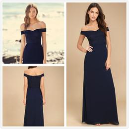 Scalloped wedding dreSSeS online shopping - 2018 Navy Blue Bateau Chiffon Long Bridesmaid Dresses Lace Top Floor Length Evening Wedding Guest Party Dresses