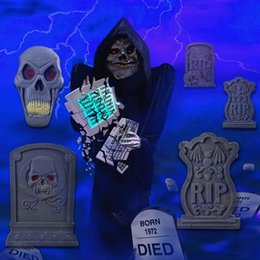 wholesale fashion 7pcs big prop foam graveyard tombstones set halloween haunted house decoration 22 cheap halloween decorations tombstones