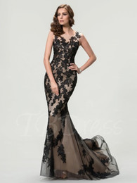 $enCountryForm.capitalKeyWord NZ - 2016 Hot Sale Fashion New Arrival Charming Free Shipping Scoop Lace Mermaid Zipper-Up Black Tulle Timeless Evening Dresses 1109