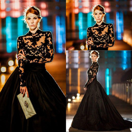 Wholesale Gorgeous Evening Dresses High Neck Long Sleeves Lace Taffeta Ball Gown Prom Dresses Modest Black Celebrity Dress Sweep Train