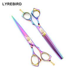 Simple Hair Cut Home Australia - Lyrebird HIGH CLASS Hair Scissors Dog Grooming Scissors 7 INCH Rainbow Hair Shears Thinning Scissors Simple Packing NEW