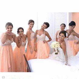 Light Orange Chiffon Canada - 2016 Hot Sale Light Orange Bridesmaid Dresses Chiffon A Line Halter Sparkling Beaded Bodice Sleeveless Beach Dresses