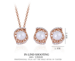 18k Earrings Wholesale Canada - Luxury Jewelry Sets 18K gold plated water drop or eyes shape shell pearl+Austrian crystal pendant necklace and earrings stud