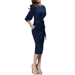 bf6a4e8201ef Spring Autumn 2015 Elegant Women Dress Half Lantern Sleeve O-Neck Bodycon  Tunic Bandage Midi Pencil Dress Pocket Work Business