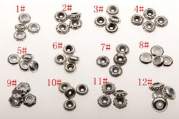 Discount beads stoppers - Hot ! 48Pcs Ancient Sliver Bulk Shiny Stopper Rubber Beads Fit Charms Bracelet 12 style