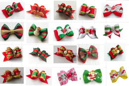 Small Hairpin Canada - 100pcs Factory Sale Christmas Pet Dog Hair Bows bowknot hairpin head flower Pet Supplies Grooming Holiday Dog Accessories P91
