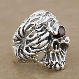 $enCountryForm.capitalKeyWord Canada - 925 Sterling Silver Red CZ Stone Eye Skull Mens Biker Ring 9K019 US Size 8~14 Free Shipping