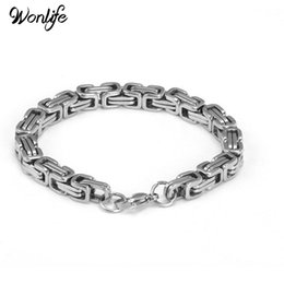 Wholesale Wonlife New Product Silver Color mm L Stainless Steel bracelet Link Byzantine Chain Bracelet For MENS Jewelry Fashion Good