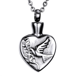 $enCountryForm.capitalKeyWord Australia - Lily Cremation Urn Pendant Ashes Necklace Keepsake Heart shaped swallow olive branch Memorial Pendant with a Gift Bag