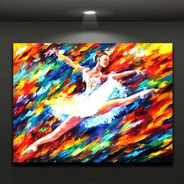 Flying White Swan Ballet Girl Pattle Knite Oil Painting Canvas Print  Picture For Home Office Hotel Wall Decor Art